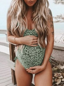 Green Leopard Print Adjustable-straps One Piece V-neck Cute Maternity Swimwear