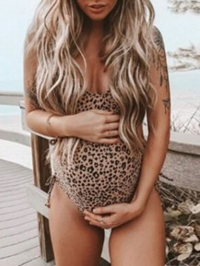 Khaki Leopard Print Adjustable-straps V-neck Cute Maternity Swimwear