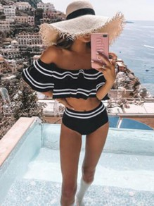 Black-White Striped Cascading Ruffle Off Shoulder Two Piece Holiday Beach Spa Bikini Swimwear