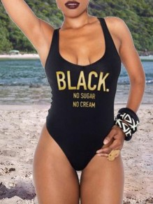 "Black ""BLACK NO SUGAR NO CREAM"" Letter Print Square Neck One-Piece Swimwear"