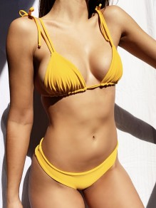 Yellow 2-in-1 Tie Back Backless Spaghetti Strap Fashion Bikini Swimwear