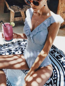Blue Striped Ruffle Backless V-neck Sports One-Piece Tankini