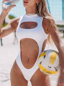 White Patchwork Irregular Cut Out Slim Collarless Sleeveless Fashion Swimwear One-Piece