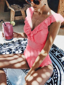 Red Striped Ruffle Falbala Honey Girl Swimwear One-Piece