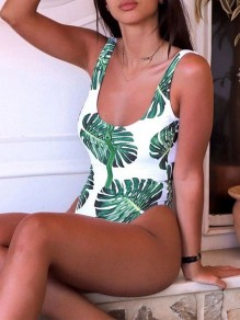 Green Leaves Pattern Zipper One-Piece Skinny Dacron Fashion Swimwear