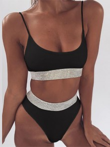 Black Patchwork Sequin Condole Belt Sports Bikini
