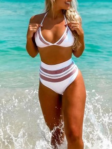 White Patchwork Grenadine 2-in-1 Halter Neck V-neck Fashion Bikini