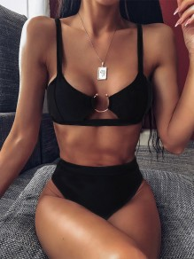 Black Buckle Honey Girl Beach Swimwear Bikini Set
