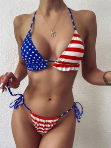 Blue-Red American Flag Pattern Drawstring Ruffle Halter Neck Independence Day Two Piece Beachwear Swimwear