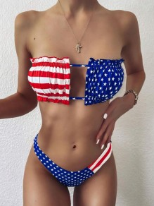 Blue-Red American Flag Pattern Bandeau Off Shoulder Independence Day Two Piece Beachwear Swimwear