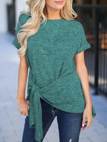 Green Sashes Irregular Bodycon Round Neck Short Sleeve Going out T-Shirt