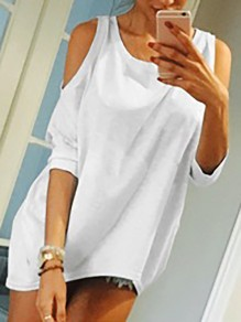White Cut Out Off-Shoulder Bodycon 3/4 Sleeve Round Neck Going out T-Shirt