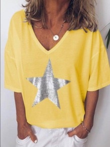 Yellow Star Print Comfy Fashion Going out V-neck T-Shirt