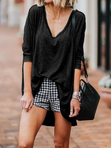 Black V-neck 3/4 Sleeve Pastel Fashion Going out T-Shirt