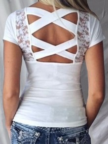 White Patchwork Lace Cut Out Backless Bodycon Sweet T-Shirt