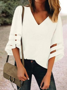 White Cut Out V-neck Three Quarter Length Sleeve Going out Casual Women Summer T-Shirt