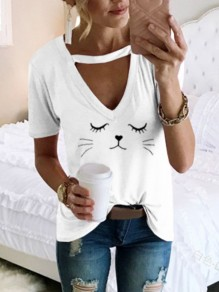 White Cut Out Fashion Cute Comfy Going out T-Shirt