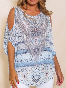 White Floral Print Cut Out Elbow Sleeve Round Neck Bohemian Casual Summer Women T-Shirt