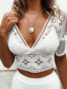 White Lace Print Sheer V-neck Crop Fashion Casual Summer Cover Up T-Shirt