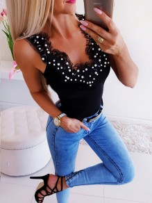 Black Patchwork Lace Fashion Cute Comfy Going out T-Shirt