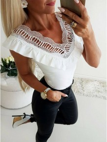 White Patchwork Lace Going out Comfy Fashion V-neck T-Shirt