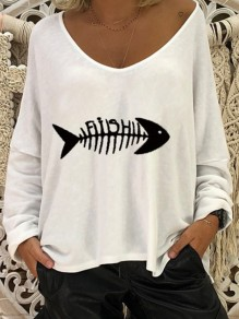 White Print Going out Comfy Sweet Fashion Round Neck T-Shirt