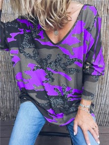 Purple Camouflage V-neck Long Sleeve Casual T-Shirt