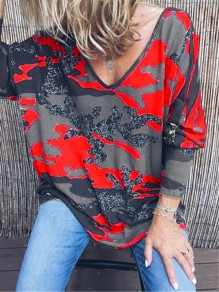 Red Camouflage V-neck Long Sleeve Casual T-Shirt