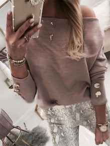 Khaki Going out Comfy Sweet Fashion Boat Neck T-Shirt