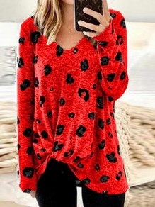 Red Leopard Print Irregular Bowknot V-neck Long Sleeve Casual T-Shirt