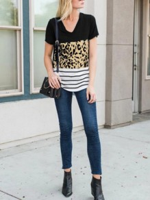 Multicolor Patchwork Pattern Leopard Going out T-Shirt