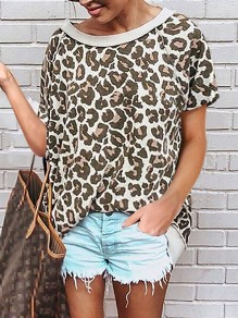 Green Leopard Pattern Round Neck Short Sleeve Fashion T-Shirt