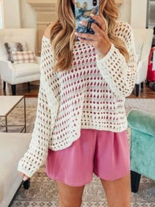 White Patchwork Cut Out Knitwear Beach Smock Kimono Cover Up Beachwear T-Shirt