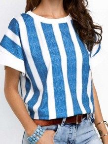 Blue Striped Pattern Vintage Comfy Round Neck Fashion T-Shirt