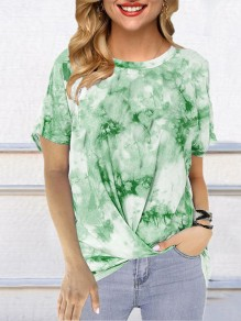 Green Color Block Tie Dye Comfy Round Neck Short Sleeve Fashion T-Shirt