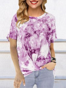 Purple Color Block Tie Dye Comfy Round Neck Short Sleeve Fashion T-Shirt