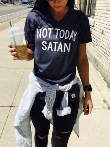 Navy Blue NOT TODAY SATAN Letter Pattern Round Neck Short Sleeve Fashion Casual T-Shirt