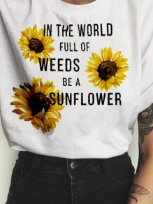 White Sunflower Letter Print Round Neck Casual Comfy Cute T-Shirt