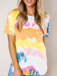 Yellow Colorful Tie Dye Multi Way V-neck Fashion T-Shirt