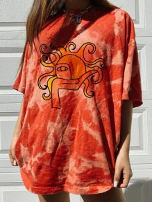 Orange Tie Dye Sun Print Oversize Round Neck Short Sleeve Fashion T-Shirt