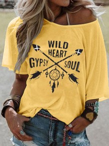 Yellow Gypsy Soul Pattern One Shoulder Half Sleeve Plus Size Casual T-shirt
