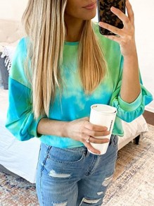 Green-Blue Tie Dye Color Block Gradient Patchwork Pattern Long Sleeve Fashion Casual T-Shirt