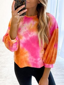 Pink Yellow Patchwork Pattern Tie Dye Long Sleeve Fashion T-Shirt