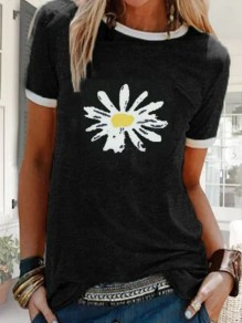 Black Daisy Print Oversize Round Neck Short Sleeve Fashion T-Shirt