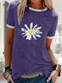 Purple Daisy Print Oversize Round Neck Short Sleeve Fashion T-Shirt