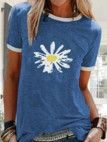 Blue Daisy Print Oversize Round Neck Short Sleeve Fashion T-Shirt