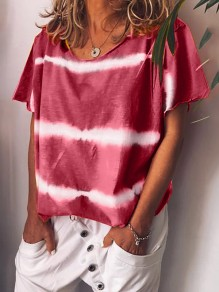 Red Tie Dye Round Neck Short Sleeve Casual Fashion T-Shirt