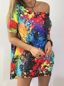 Black Green Colorful Painting Pattern One Shoulder Short Sleeve Casual T-shirt
