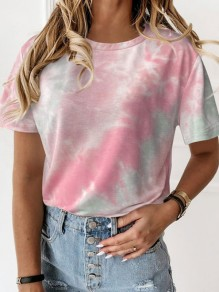 Pink Color Block Tie Dye Round Neck Short Sleeve Casual T-Shirt