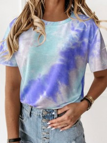 Blue Color Block Tie Dye Round Neck Short Sleeve Casual T-Shirt
